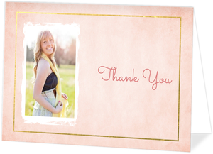 Gold Faux Foil Pink Watercolor Graduation Thank You