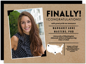 Kraft Polaroid Graduate School Graduation Announcement