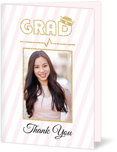 Beautiful Soft Pink Faux Glitter Nursing School Graduation Thank You