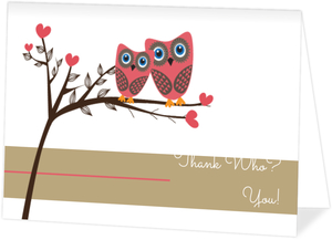 Owls Thank Who Baby Shower Thank You Card
