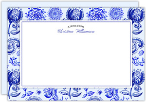 Royal Blue Watercolor Pattern Notecard