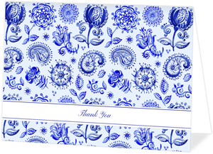 Royal Blue Watercolor Pattern Thank You Card