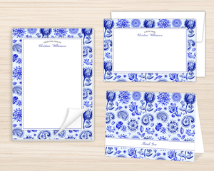 Royal Blue Watercolor Pattern Stationery Set