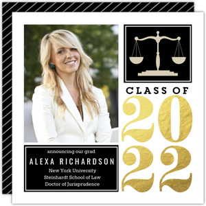 Gold Foil Block Law School Graduation Announcement