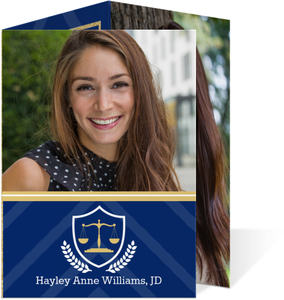 Navy and Gold Law School Graduation Announcement