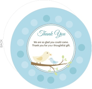 Blue Mom And Baby Bird With Dots Baby Thank You Card