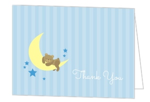 Twinkling Little Stars And Moon Baby Shower Thank You Card