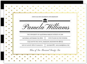 Modern Type Gold Foil Dot Law School Graduation Invitation