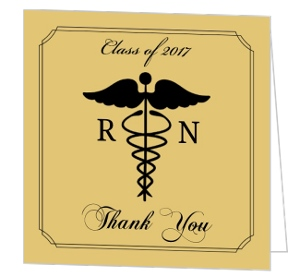 Gold and Black Nursing School Graduation Thank You Card