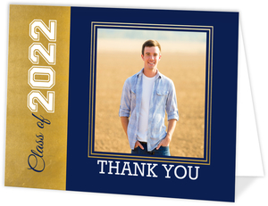 Navy and Faux Gold Foil Graduation Thank You Card