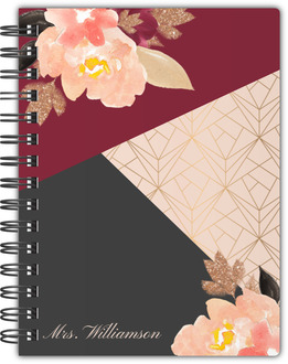 Faux Glitter Floral Watercolor Teacher Notebook