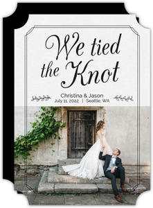 Tied The Knot Script Wedding Announcement