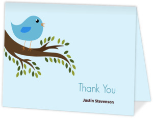 Sweet Baby Blue Bird Shower Thank You Note
