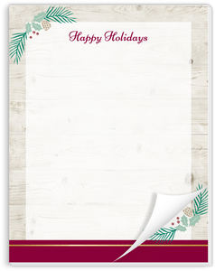 Elegant Wood & Pine Decor Holiday Notepad