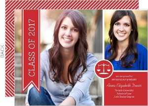 Red Banner Law School Graduation Announcement