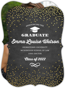 Gold Foil Confetti Chalk Law School Graduation Announcement