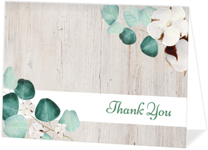 Rustic Cotton Plant Watercolor Thank You Card