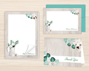 Rustic Cotton Plant Watercolor Stationery Set