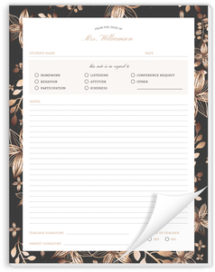 Bronze Floral Frame Teacher Notepad