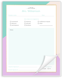 Faux Foil Color Block Teacher Notepad