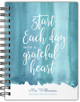 Blue Watercolor Stain Quote Notebook
