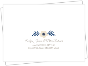 Soft Blue And Taupe Floral Mailing Address Envelope