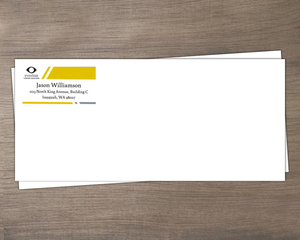 Gray and Yellow Diagonal Lines Business Envelope