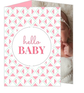 Pink Hello Baby Adoption Announcement