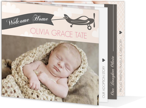 Pink and Gray Airplane Adoption Birth Announcement