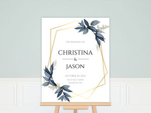 Geometric Frame Navy Leaves Wedding Welcome Poster