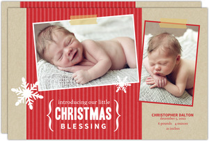 Red Christmas Birth Announcement