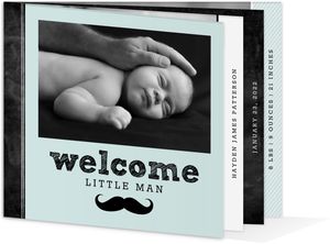 Blue Mustache Chalkboard Boy Baby Birth Announcement
