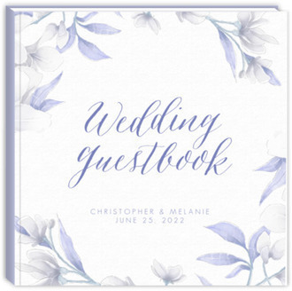 White Lilies Purple Leaves Wedding Guest Book