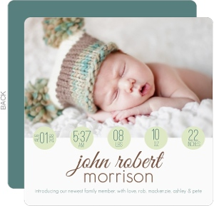 Green Circle Modern Photo Birth Announcement
