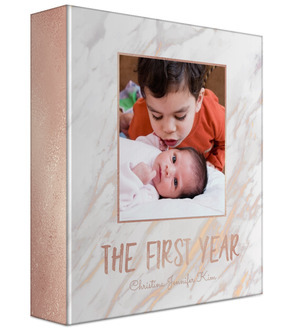 Faux Rose Gold Marble Baby Keepsake Binder