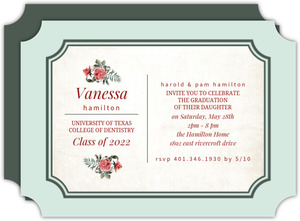 Vintage Roses Dental School Graduation Invitation