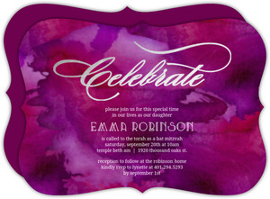 Purple Watercolor Silver Foil Celebrate Bat Mitzvah Invitation