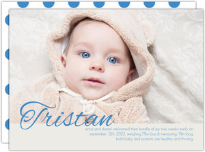 Bright Blue Boy Photo Birth Announcement