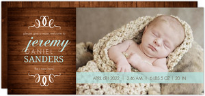 Blue Woodgrain Boy Birth Announcement