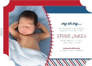 My Oh My Baseball Birth Announcement