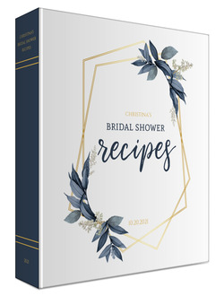 Geometric Frame Navy Leaves Bridal Shower Recipe Binder