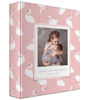 Swan Pattern Baby Keepsake Binder