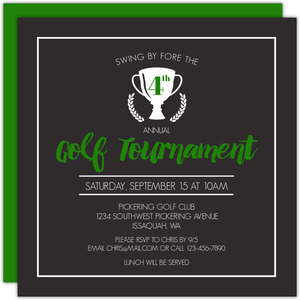 Tournament Trophy Golf Party Invitation