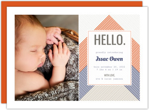 Orange and Blue Stripes Boy Birth Announcement
