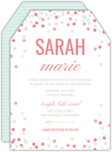 Confetti Celebrations Bat Mitzvah Invitation