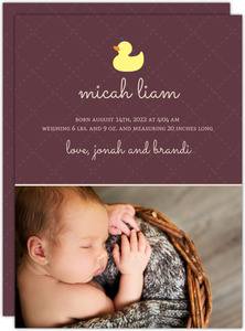 Brown Quilted with Yellow Ducks Baby Announcement