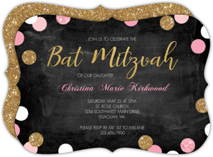Sparkling Pink and Gold Bat Mitzvah Invitation