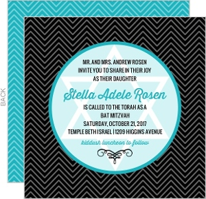 Turquoise and Black Chevron Bat Mitzvah Invitation