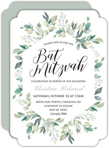 Diamond Greenery Frame Bat Mitzvah Invitation
