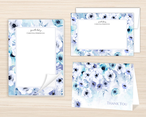 Watercolor Anemones Stationery Set